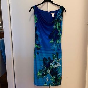Tropical patterned blue dress by Caché